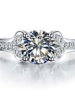 Brand Quality 1CT SONA Diamond Ring for Girl Sterling Silver in Platinum Plated Engagement Ring Solitaire with Accents