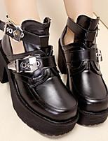 Zapatos de mujer-Tacón Robusto-Punta Cuadrada-Botas-Casual-PU-Negro