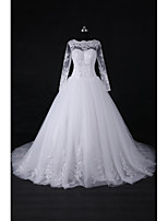 Ball Gown Wedding Dress Court Train Jewel Lace / Tulle with Appliques / Beading / Sequin