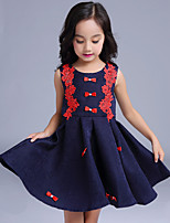 Girl's Casual/Daily Patchwork Dress,Cotton / Polyester All Seasons Blue / White