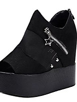 Women's Sandals Summer Peep Toe PU Casual Wedge Heel Zipper Black / White Others