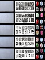 5pc / set plastic wit milieu mooi nagel stempelen platen met mode patroon. (Kd-sm612-001-002-003-004-005)
