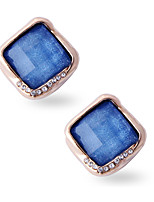 Sweet Trend Auger Square  Sapphire Earrings