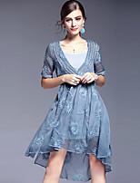 AFOLD® Men's Round Neck 1/2 Length Sleeve Asymmetrical Dress-5617