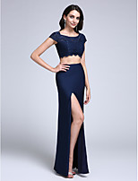 Formal Evening Dress Sheath / Column Scoop Floor-length Lace / Jersey with Lace / Split Front