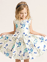 Girl's Cotton Summer Fashion Sleeveless Princess Printing Dress