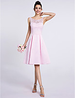 Lanting Bride Knee-length Lace / Satin Bridesmaid Dress A-line Scoop with Lace