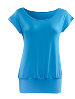 Women's Solid Blue / Red / Black Blouse,Round Neck Short Sleeve