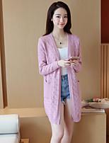 Women's Solid Blue / Pink / White / Beige Cardigan,Street chic Long Sleeve
