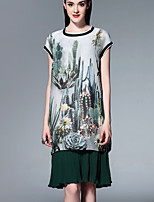 Boutique S Going out Sophisticated Loose Dress,Print Round Neck Knee-length Short Sleeve Green Polyester Summer