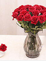 1Pc Real Touch Rose Pu Artificial Silk Wedding Bouquet Flowers , Home Decorations For Wedding Party Or Birthday