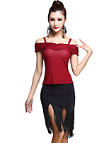 Latin Dance Outfits Women's Training Rayon / Tulle Tassel(s) 2 Pieces Black / Burgundy