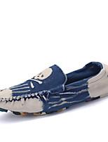 CEYUE Men's Shoes Denim Casual Walking Flat Heel Slip-on Blue / Red / Dark Green EU39-43