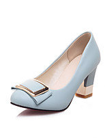 Women's Shoes Chunky Heel Comfort / Round Toe Heels Wedding / Outdoor / Dress / Casual Black / Blue / White