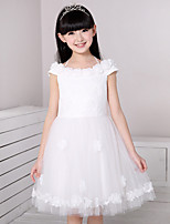 A-line Knee-length Flower Girl Dress - Cotton / Satin / Tulle Short Sleeve Off-the-shoulder with Flower(s) / Lace