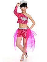 Jazz Outfits Children's Performance Polyester / Sequined Sequins 2 Pieces Blue / Fuchsia / Yellow Jazz