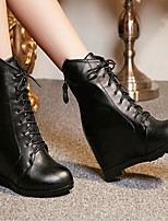 Women's Shoes Leather Summer / Winter Combat Boots Boots Casual Wedge Heel Others Black / Red