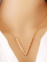 Alloy Gold Layered Chain Necklace with V Shape Pendant