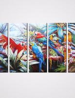 Kehystämättömät Canvas-tulosta Maisema / Eläin Realismi / European Style / Moderni,5 paneeli Kanvas Vaakasuora Tulosta Art Wall Decor For