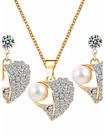 Heart-Shaped Rhinestone imitation Pearl Earrings Necklace Jewelry Set Wedding Women Bridesmaids Gifts