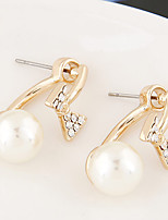 Women's European Style Fashion Sweet Shiny Rhinestone Bow Pearl Stud Earrings