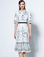 Boutique S  Going out Sophisticated Trumpet/Mermaid Dress,Print Round Neck Midi ½ Length Sleeve White Polyester Summer