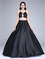 TS Couture® Formal Evening Dress Ball Gown Jewel Floor-length Stretch Satin with Beading / Crystal Detailing