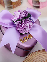 10 Piece/Set Favor Holder-Heart-shaped Metal Ribbons Flowers Purple Wedding Favor Boxes Candy Boxes