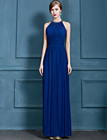 Formal Evening Dress A-line Halter Floor-length Chiffon with Beading