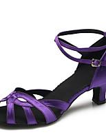Chaussures de danse(Violet) -Personnalisables-Talon Aiguille-Satin-Latine / Moderne