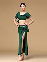 Belly Dance Outfits Women's Training Modal Pleated / Ruffles 2 Pieces Black / Blue / Dark Green / Burgundy