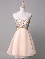 Cocktail Party Dress Ball Gown Sweetheart Short / Mini Chiffon / Satin with Crystal Detailing
