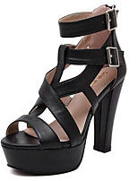 Women's Heels Summer Heels PU Casual Chunky Heel Others Black / Almond