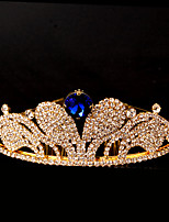 여성 라인석 투구-웨딩 / 특별한날 왕관 1개 블루 둥근 12cm-15cm  adjustable