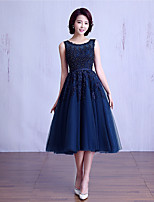Tea-length Lace / Tulle Bridesmaid Dress Ball Gown Jewel with Beading / Lace / Sash / Ribbon
