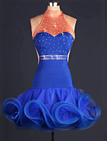 Latin Dance Dresses Women's Performance Elastic Woven Satin Crystals/Rhinestones / Ruffles 1 Piece Royal Blue