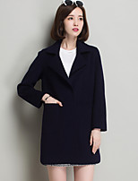 Women's Going out Simple Coat,Solid Shirt Collar Long Sleeve Winter Blue / Pink / Green / Orange Wool Thick