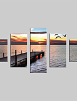 JAMMORY Canvas Set Landscape Modern,Five Panels Gallery Wrapped, Ready To Hang Vertical Print No Frame Evening Seascape