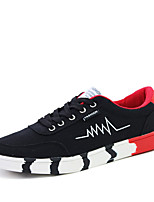 Men's Flats Spring / Fall Round Toe Suede Athletic Flat Heel Lace-up Blue / White / Black and Red / Black and White Sneaker