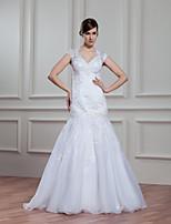 A-라인 웨딩 드레스 바닥 길이 V-넥 오간자 와 아플리케 / 비즈 / 레이스