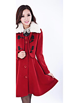Women's Casual/Daily Cute Coat,Solid Shirt Collar Sleeveless Winter Red / Black / Brown Wool Medium