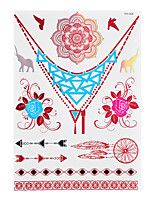1pc Flash Metallic Waterproof Tattoo Red Gold Silver Dreamcatcher Elephant Temporary Tattoo RYH-006