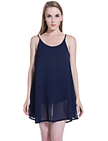 ADEAST Women's Going out / Casual/Daily / Beach Sexy Loose Dress,Solid Strap Mini Sleeveless Blue Polyester Summer