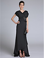 Lanting Bride Sheath / Column Mother of the Bride Dress Sweep / Brush Train Short Sleeve with Beading / Criss Cross