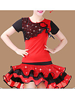 Latin Dance Outfits Women's Performance Polyester Sequins 2 Pieces  Latin Dance Short Sleeve Natural Top / Skirt