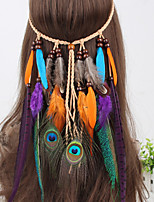 Women's Bohemia Style Vintage Fabric Feather Pendant Weave Headbands 1 Piece