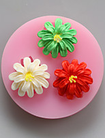três flores moldes de silicone de chocolate, moldes de bolo, moldes de sabão, ferramentas de decoração bakeware