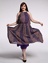 Women's Beach / Plus Size Boho Swing Dress,Print Round Neck Maxi Sleeveless Purple Cotton / Linen Summer