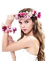 Dame Polyester / Stoff Headpiece-Bryllup / Spesiell Leilighet / Utendørs Kranser 2 deler Multi-farge Blomst 53-56cm