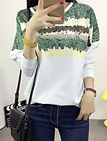 Women's Going out Street chic Fall Blouse,Print Round Neck Long Sleeve Pink / Green Cotton Thin